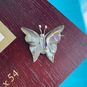 Vintage Sterling Silver MOP Butterfly Pin